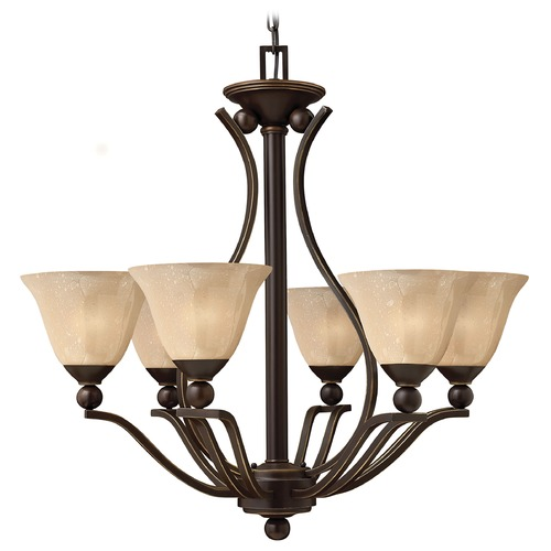 Hinkley Lighting Chandelier with Amber Glass in Olde Bronze Finish 4656OB