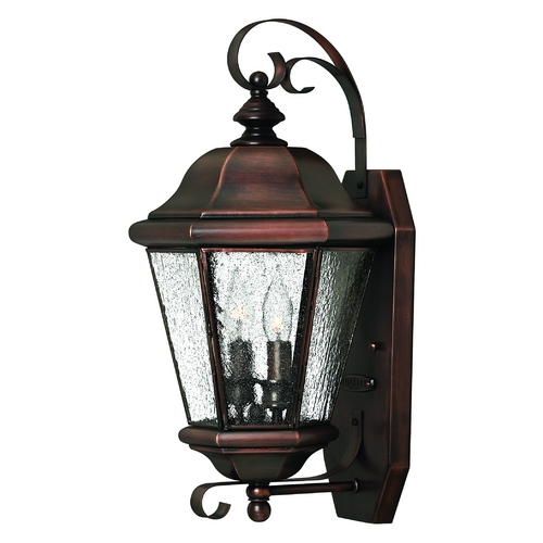 Hinkley Lighting Outdoor Wall Light with Clear Glass in Antique Copper Finish 2265AP