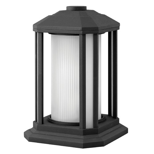 Hinkley Lighting Post Light with White Glass in Black Finish 1397BK
