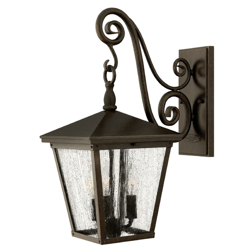 Hinkley Lighting Seeded Glass LED Outdoor Wall Light Bronze Hinkley Lighting 1434RB-LED