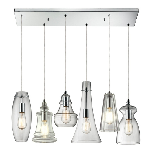 Elk Lighting Multi-Light Pendant Light with Clear Glass and 6-Lights 60059-6M-RC