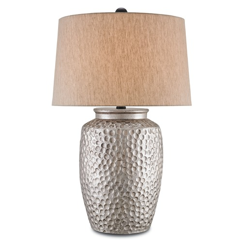 Currey and Company Lighting Currey and Company Dwyer Antique Silver Table Lamp with Empire Shade 6847