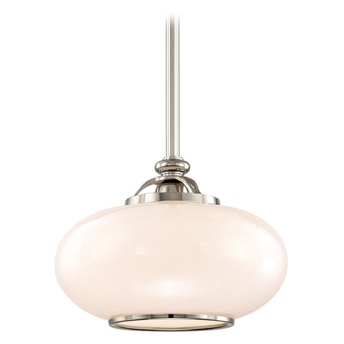 Hudson Valley Lighting Pendant Light with White Glass in Polished Nickel Finish 9815-PN