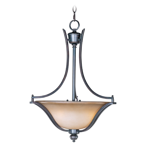 Maxim Lighting Pendant Light with Beige / Cream Glass in Oil Rubbed Bronze Finish 10173WSOI