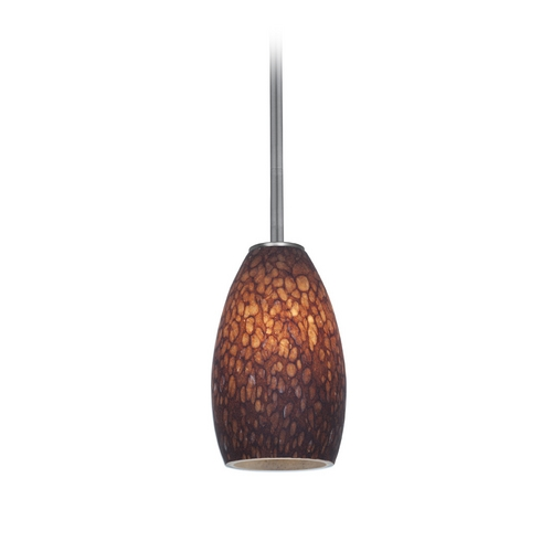 Access Lighting Modern Mini-Pendant Light with Brown Glass 28012-2R-BS/BRST