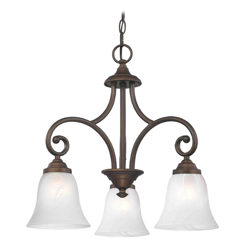 Design Classics Lighting Mini-Chandelier with Alabaster Glass in Bronze Finish 716-220 GL9222-ALB