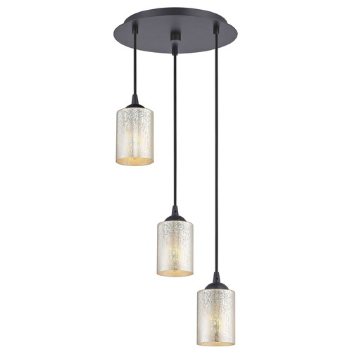 Design Classics Lighting Bronze Multi-Light Pendant with Mercury Cylinder Glass and 3-Lights 583-220 GL1039C