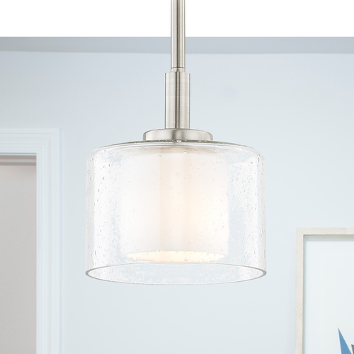 Design Classics Lighting Modern Satin Nickel Mini-Pendant with Satin White and Clear Seeded Glass 2948-09