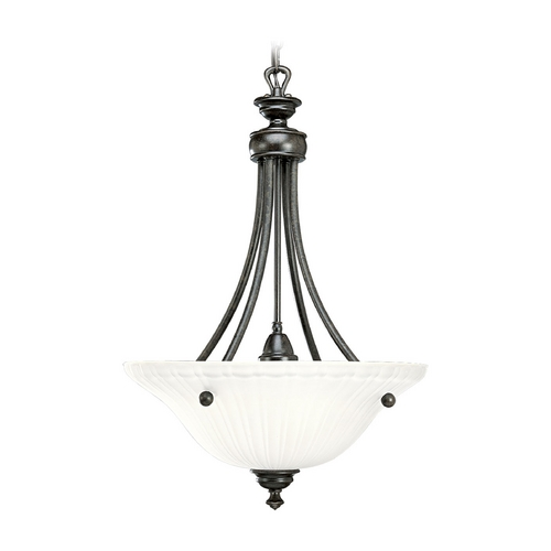 Progress Lighting Progress Pendant Light with White Glass in Forged Bronze Finish P3608-77