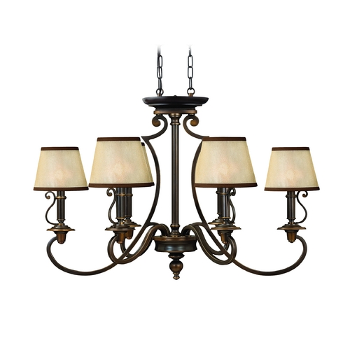 Hinkley Lighting Chandelier with Amber Shades in Olde Bronze Finish 4245OB