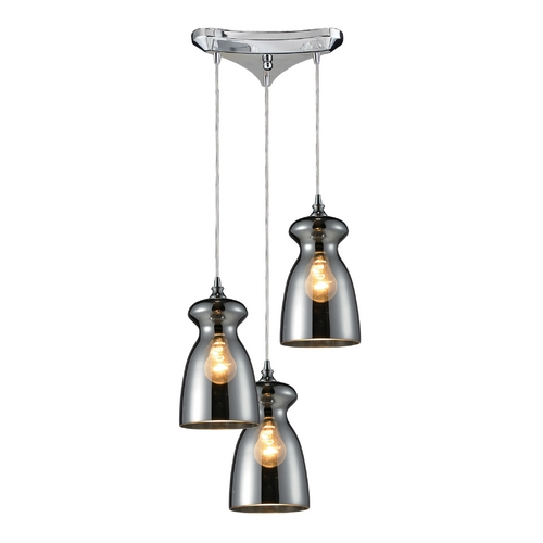 Elk Lighting Multi-Light Pendant Light with Mercury Glass and 3-Lights 60063-3