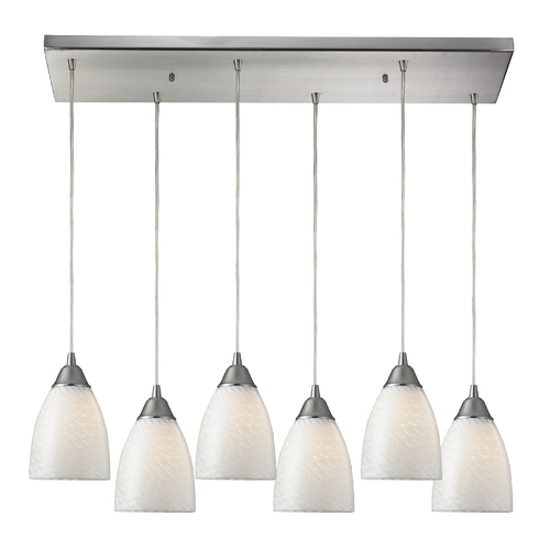 Elk Lighting Modern Multi-Light Pendant Light with White Glass and 6-Lights 416-6RC-WS