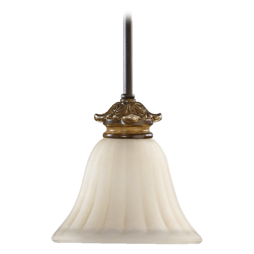 Quorum Lighting Quorum Lighting Capella Toasted Sienna with Golden Fawn Mini-Pendant Light with Bell Shade 3201-44