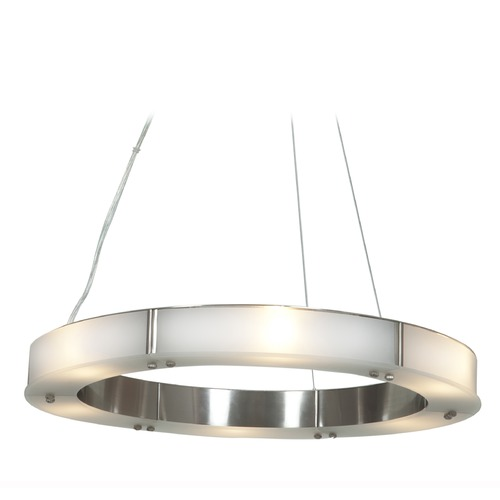 Access Lighting Access Lighting Oracle Brushed Steel Pendant Light with Drum Shade 50465LEDD-BS/FST