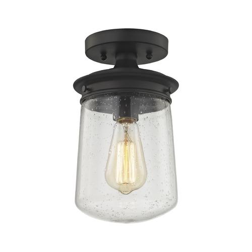 Elk Lighting Hamel: Seeded Glass Semi-Flushmount Light Oil Rubbed Bronze Elk