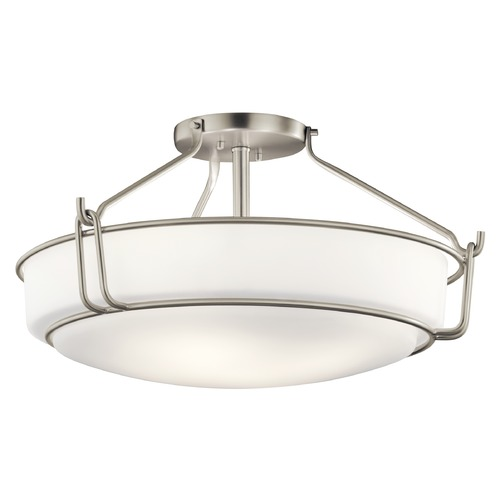 Kichler Lighting Transitional Semi-Flushmount Light Brushed Nickel Alkire by Kichler Lighting 44086NI