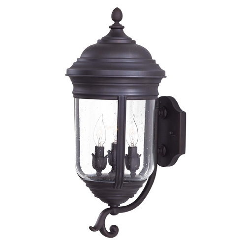 Minka Lavery Outdoor Wall Light with Clear Glass in Roman Bronze Finish 8815-57