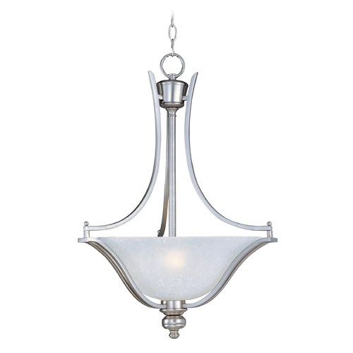 Maxim Lighting Pendant Light with White Glass in Satin Silver Finish 10173ICSS