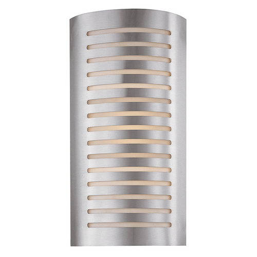 Access Lighting Modern Sconce Wall Light with White Glass in Brushed Steel Finish 53341-BS/OPL