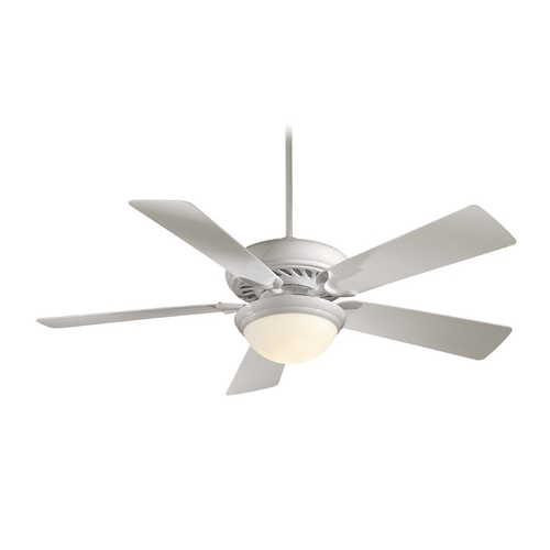 Minka Aire 52-Inch Ceiling Fan with Light with White Glass in White Finish F569-WH