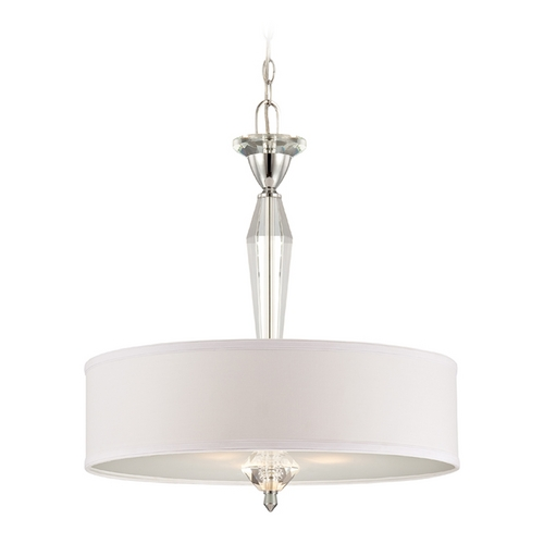 Designers Fountain Lighting Drum Pendant Light with White Shade in Chrome Finish 84231-CH
