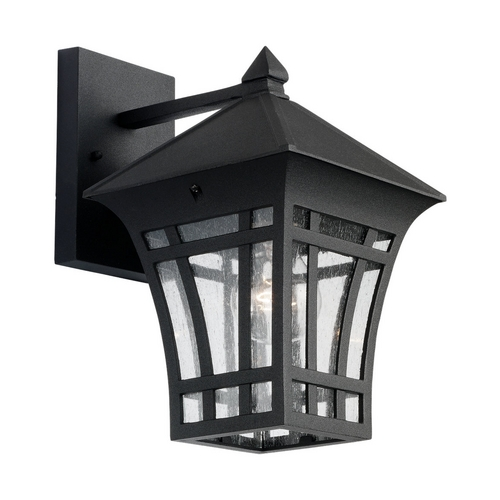 Sea Gull Lighting Outdoor Wall Light with Clear Glass in Black Finish 88132-12