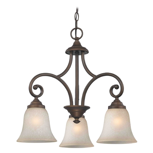Design Classics Lighting Mini-Chandelier with Brown Glass in Neuvelle Bronze Finish 716-220 GL9222-CAR
