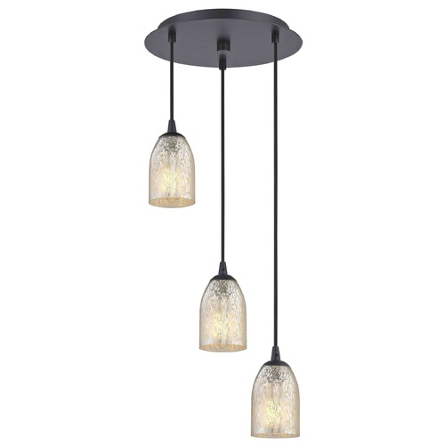 Design Classics Lighting Bronze Multi-Light Pendant with Mercury Dome Glass and 3-Lights 583-220 GL1039D