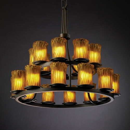 Justice Design Group Justice Design Group Veneto Luce Collection Chandelier GLA-8767-16-AMBR-DBRZ