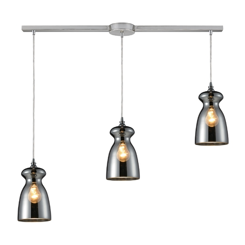 Elk Lighting Multi-Light Pendant Light with Mercury Glass and 3-Lights 60063-3L