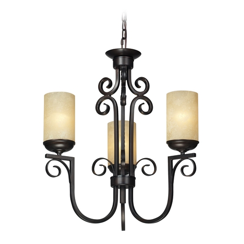 Elk Lighting Chandelier with Amber Glass in Aged Bronze Finish 11511/3