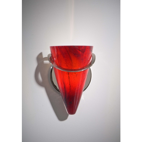 Holtkoetter Lighting Holtkoetter Modern Sconce Wall Light with Red Glass in Polished Nickel Finish 2977 PN MGR