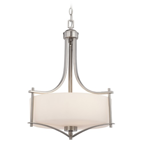 Savoy House Savoy House Satin Nickel Pendant Light with Drum Shade 3-333-3-SN