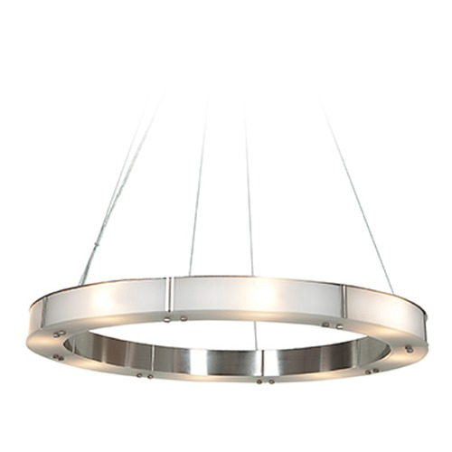 Access Lighting Access Lighting Oracle Brushed Steel Pendant Light with Drum Shade 50466LEDD-BS/FST