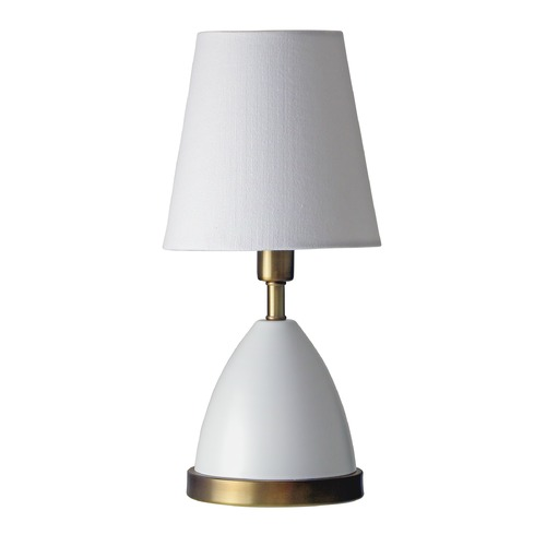 House of Troy Lighting House Of Troy Geo White with Weathered Brass Accents Accent Lamp GEO206