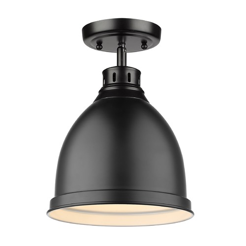 Golden Lighting Golden Lighting Duncan Black Semi-Flushmount Light with Matte Black Shade 3602-FMBLK-BLK