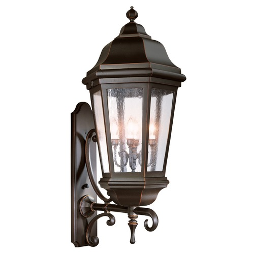 Troy Lighting Outdoor Wall Light with Clear Glass in Antique Bronze Finish BCD6836ABZ
