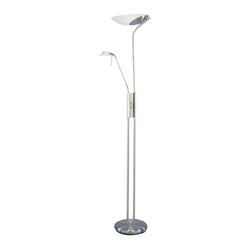 Lite Source Lighting Modern Torchiere Lamp with White Glass in Polished Steel Finish LS-9709PS/FRO