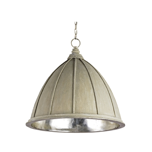 Currey and Company Lighting Pendant Light in Oyster Cream/silver Leaf Finish 9149