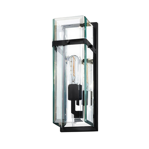 Sonneman Lighting Modern Sconce Wall Light with Clear Glass in Satin Black Finish 4280.25