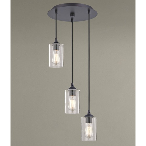 Design Classics Lighting Design Classics Gala Fuse Neuvelle Bronze Multi-Light Pendant with Cylindrical Shade 583-220 GL1041C