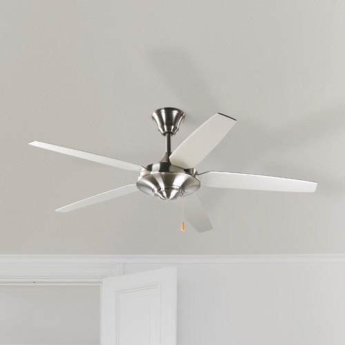 Progress Lighting Progress Ceiling Fan Without Light in Brushed Nickel Finish P2530-09