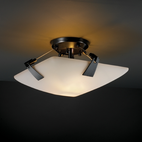 Justice Design Group Justice Design Group Fusion Collection Semi-Flushmount Light FSN-9630-25-OPAL-MBLK