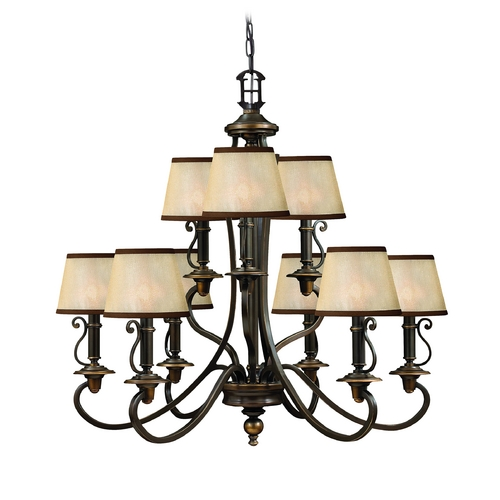 Hinkley Lighting Chandelier with Amber Shades in Olde Bronze Finish 4248OB