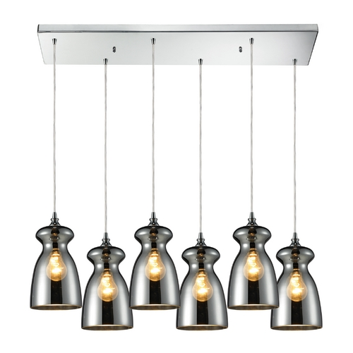 Elk Lighting Multi-Light Pendant Light with Mercury Glass and 6-Lights 60063-6RC