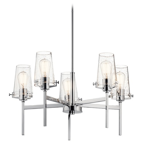 Kichler Lighting Alton 5-Light Chrome Chandelier with Clear Seeded Glass Shade 43694CH