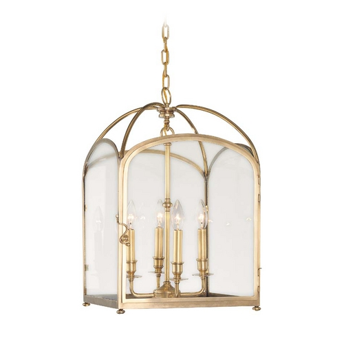 Hudson Valley Lighting Pendant Light with Clear Glass in Aged Brass Finish 6484-AGB
