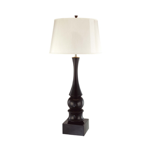 George Kovacs Lighting Modern Table Lamp with White Paper Shade in Black Gloss Finish P362-2-066C