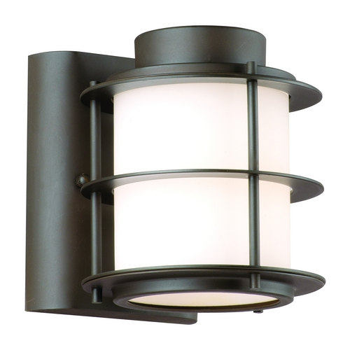 Philips Lighting Modern Outdoor Wall Light with White Glass in Deep Bronze Finish F849668