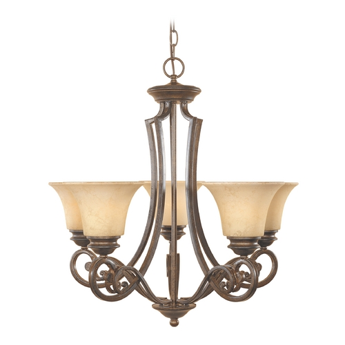 Designers Fountain Lighting Chandelier with Amber Glass in Forged Sienna Finish 81885-FSN